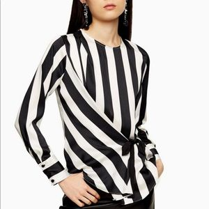 Topshop Black And White Stripe Tie Side Blouse